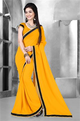 image of Attractive Green-Orange Party Wear Saree