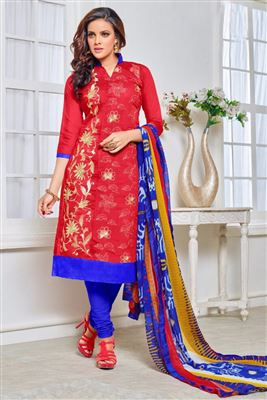 image of Cyan Color Straight Cut Party Wear Cotton Salwar Kameez