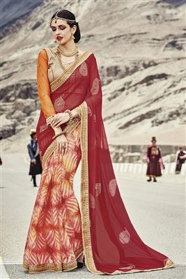 image of Shimmering Designer Embroidered Georgette Saree