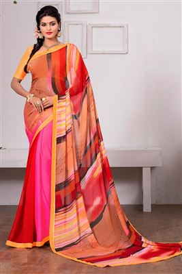 image of Charming Cream Color Designer Party Wear Saree