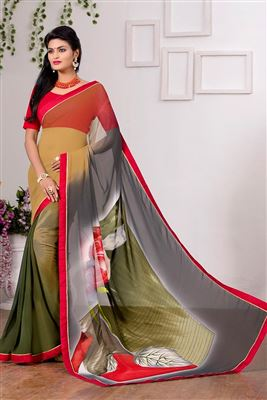 image of Cream-Pink Color Party Wear Fancy Fabric Saree with Blouse