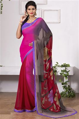 image of Cream-Green Casual Printed Fancy Georgette Saree
