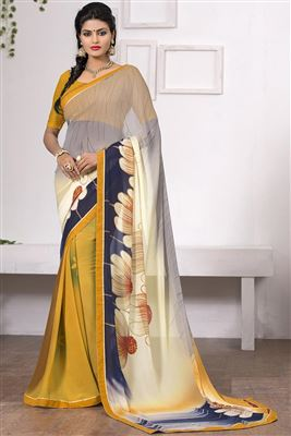 image of Embroidered Goldan-Pink Color Designer Saree in Bemberg-Chiffon Fabric