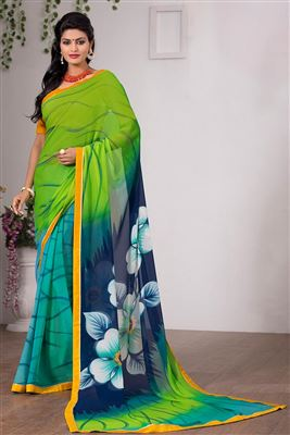 image of Cyan Color Designer Saree in Crepe Fabric with Embroidery