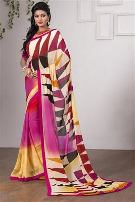 image of Traditional Fancy Silk Party Saree In Cream And Orange Color