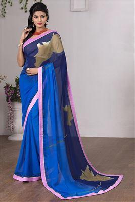 image of Designer Blue Color Lehenga Saree-3127