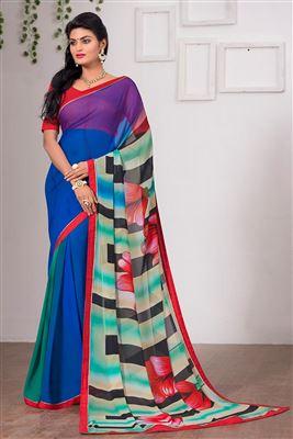 image of Grey-Mehendi Green Color Fancy Print Georgette Saree with Bangalori Silk Blouse