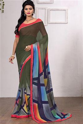 image of Orange-Brown Party Wear Fancy Print Georgette Sari