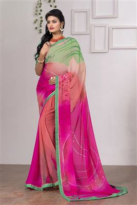 image of Pink And Blue Color Embroidered Designer Saree In Lycra And Georgette Fabric