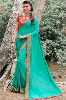 image of Fancy Fabric Blue-Brown Color Party Wear Saree with Dhupion Blouse