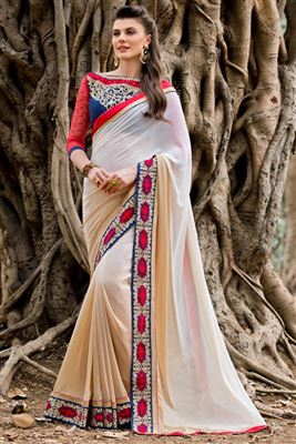 image of Pink-Blue Color Designer Georgette-Chiffon Saree with Embroidery