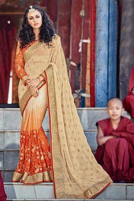 image of Wedding Wear Net-Lycra Half n Half Saree-8902