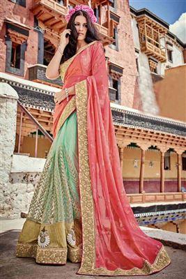 image of Embroidered Designer Net Saree in Cream-Orange Color