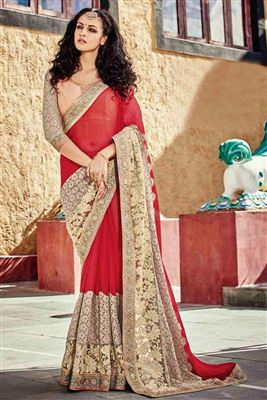 image of Charming Pink Color Designer Party Wear Saree