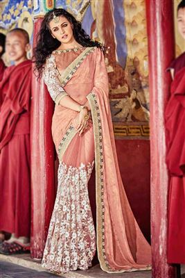 image of Designer Silk Saree with Embroidery in Pink Color