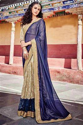 image of Grey-Blue Art Silk Banarasi Style Party Saree