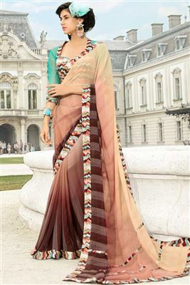 image of Beige Georgette Kashmiri Work Saree with Blouse