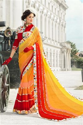 image of Embroidered Net Designer Saree in Cream-Orange Color