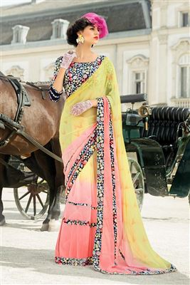 image of Pink And Brown Color Georgette Fabric Designer Saree With Border