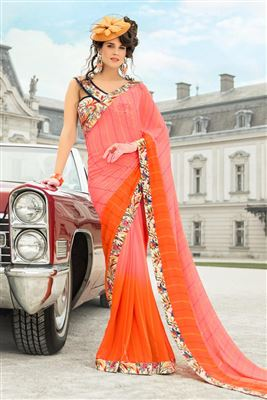 image of Red Half n Half Georgette-Brasso Party Saree
