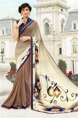 image of Attractive Cream Designer Printed Saree