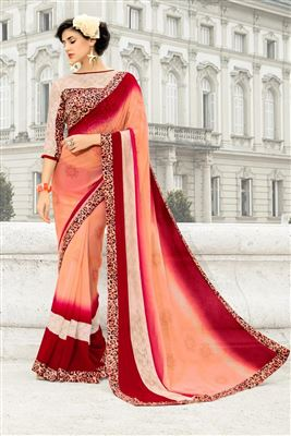 image of Pink Embroidered Designer Viscose-Net Saree
