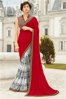 image of Lovely Red Designer Saree