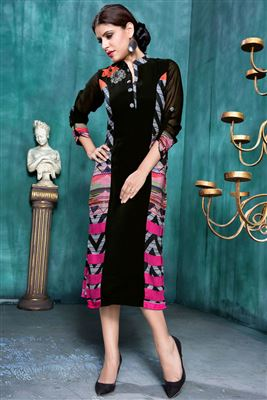 image of Black Georgette Party Wear Printed Kurti