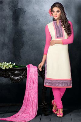 image of Beige-Pink Striaght Cut Georgette Salwar Kameez