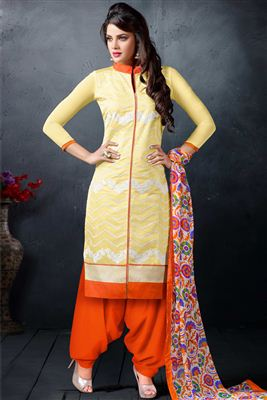 image of Orange Cotton Pakistani Palazzo Salwar Kameez