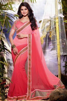 image of Jennifer Winget Pink Color Embroidered Saree