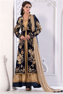image of Beige Color Party Wear Georgette Salwar Kameez