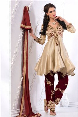 image of Beige Color Party Wear Cotton Punjabi Salwar Suit With Embroidery