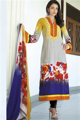 image of Designer Sky Blue Color Silk Fabric Embroidered Anarkali Suit