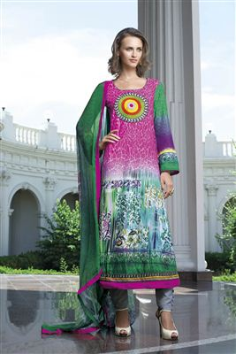 image of Blue-Pink Color Cotton Satin Casual Wear Salwar Kameez