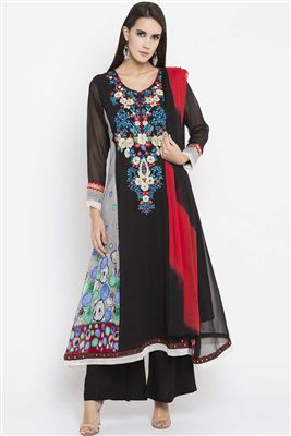 e077eb96d20 image of Embroidered Dark Teal Georgette Long Floor Length Anarkali Dress  In Plus Size