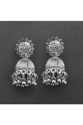 image of Artificial Silver Color Oxidised Stylish Earrings In Alloy Base