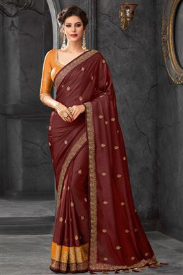 d3ff10ee805de2 image of Dark Green Party Style Designer Plain Saree In Art Silk With Heavy  Boder