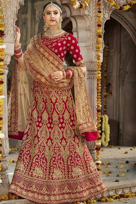 65e8bd1f74 image of Red Color Wedding Wear Embroidered Designer Art Silk Lehenga Choli