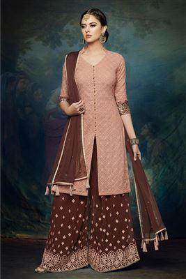 145fa908b4 image of Crimson Cotton Fabric Fancy Printed Daily Wear Palazzo Salwar  Kameez