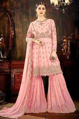 cc49f3eb24e2 image of Function Wear Designer Pink Embroidered Sharara Suit In Georgette