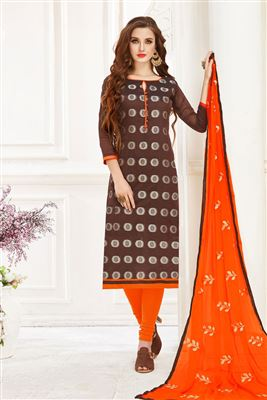 f493003f26 image of Brown Jacquard Fabric Function Wear Straight Cut Salwar Kameez  With Weaving Work Designs