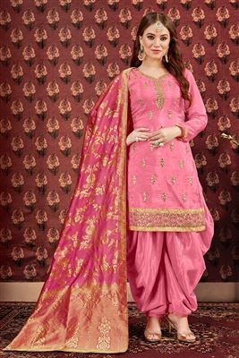 f4d7173d12 image of Viscose Fabric Pink Function Wear Embroidered Patiala Suit With  Jacquard Dupatta