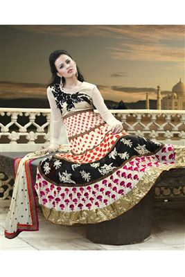 image of Pink-Cream Festive Wear Embroidered Saree-9027