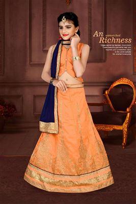 6d2f080e5 image of Orange Color Festive Wear Designer Fancy Lehenga Choli For Girls In  Art Silk Fabric