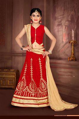 766c909744098 image of Red Color Fancy Function Wear Art Silk Fabric Lehenga Choli For  Girls