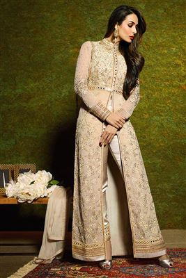 image of Malaika Arora Georgette Salwar Kameez in Cream Color with Embroidery