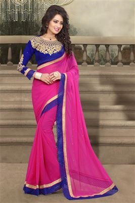 image of Crepe Party Wear Printed Saree