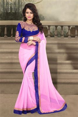 image of Beige-Peach Color Party Wear Net-Lycra Saree with Designer Blouse