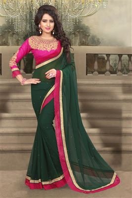 image of Green-Blue Color Party Wear Silk Saree with Designer Blouse